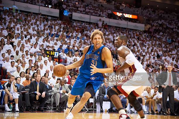 NBA Finals Dallas Mavericks Dirk Nowitzki in action vs Miami Heat at American Airlines Arena Game 2 Miami FL CREDIT Greg Nelson