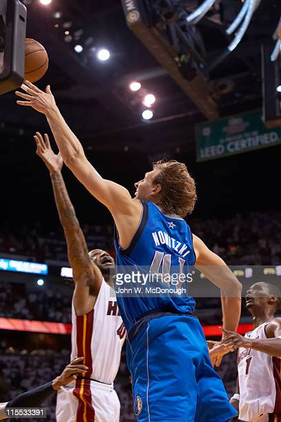 NBA Finals Dallas Mavericks Dirk Nowitzki in action vs Miami Heat at American Airlines Arena Game 2 Miami FL CREDIT John W McDonough