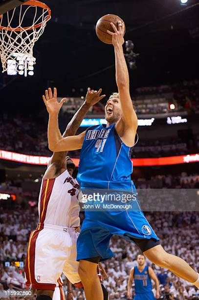 NBA Finals Dallas Mavericks Dirk Nowitzki in action vs Miami Heat at American Airlines Arena Game 6 Miami FL CREDIT John W McDonough