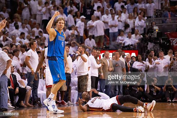 NBA Finals Dallas Mavericks Dirk Nowitzki victorious during game vs Miami Heat at American Airlines Arena Game 2 Miami FL CREDIT John W McDonough