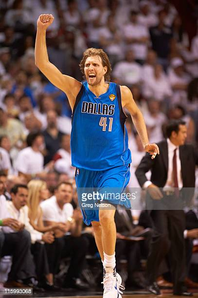 NBA Finals Dallas Mavericks Dirk Nowitzki victorious during game vs Miami Heat at American Airlines Arena Game 6 Miami FL CREDIT Greg Nelson
