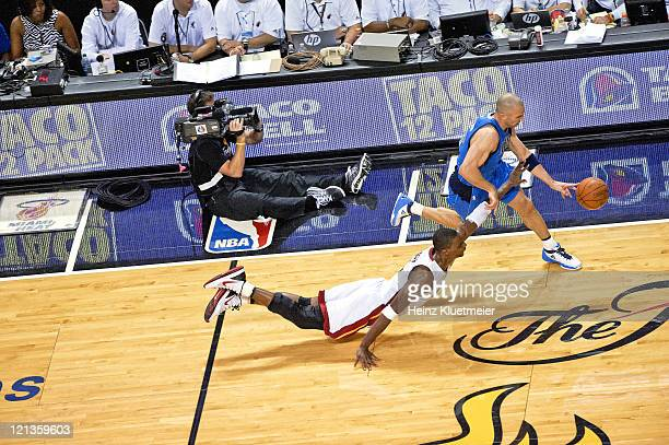 NBA Finals Dallas Mavericks Jason Kidd in action vs Miami Heat Chris Bosh at American Airlines Arena Game 6 Miami FL CREDIT Heinz Kluetmeier