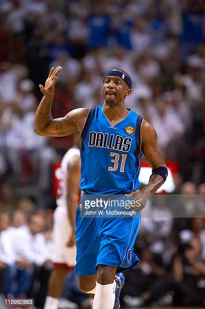 NBA Finals Dallas Mavericks Jason Terry victorious during game vs Miami Heat at American Airlines Arena Game 6 Miami FL CREDIT John W McDonough