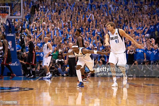 NBA Finals Dallas Mavericks Jason Terry victorious during game vs Miami Heat at American Airlines Center Game 5 Dallas TX CREDIT John W McDonough
