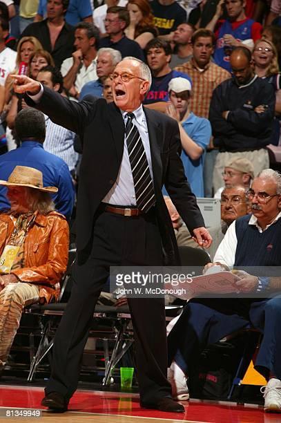 Basketball NBA Finals Detroit Pistons coach Larry Brown during Game 5 vs San Antonio Spurs Auburn Hills MI 6/19/2005