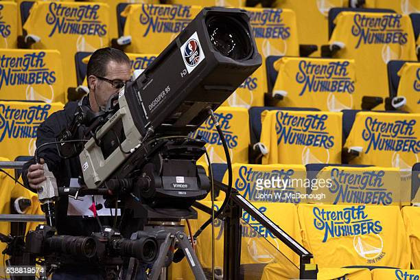 NBA Finals ESPN cameraman before Golden State Warriors vs Cleveland Cavaliers game at Oracle Arena Game 1 Oakland CA CREDIT John W McDonough