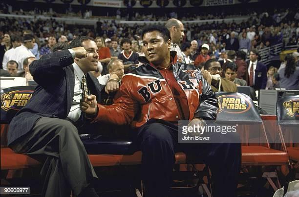 NBA Finals Former heavyweight boxing champion Muhammad Ali sitting courtside during Game 1 of Chicago Bulls vs Utah Jazz series Ali wearing Bulls...