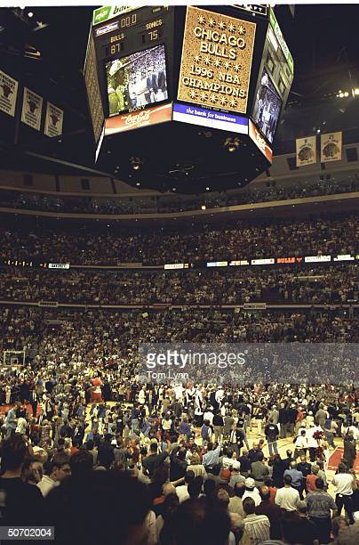 NBA Finals Game 6 Overall view of United Center score board that reads CHICAGO BULLS 1996 NBA CHAMPIONS after game