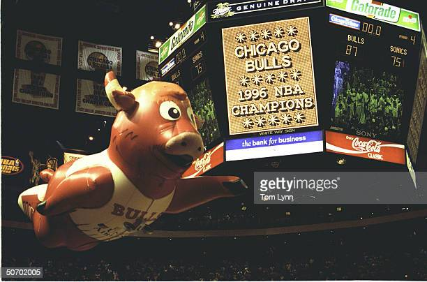 NBA Finals Game 6 Overall view of United Center w oversize Chicago Bulls mascot ballon flying around score board that reads CHICAGO BULLS 1996 NBA...