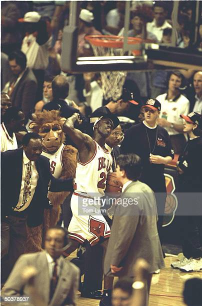 NBA Finals Game 6 View of Chicago Bulls Michael Jordan on sidelines victorious pumping his fist after winning game championship vs Seattle SuperSonics