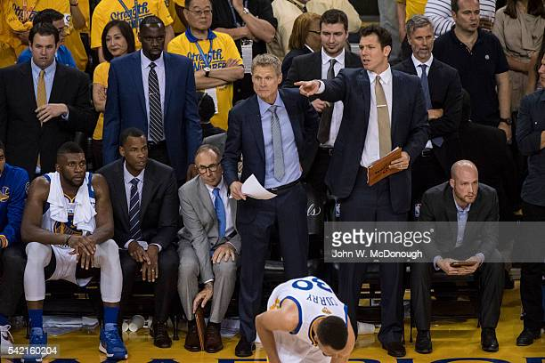 NBA Finals Golden State Warriors coach Steve Kerr and assistant coach Luke Walton on sidelies duirng game vs Cleveland Cavaliers at Oracle Arena Game...
