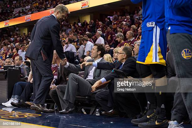 NBA Finals Golden State Warriors coach Steve Kerr shaking hands with assistant coach Luke Walton during game vs Cleveland Cavaliers at Quicken Loans...