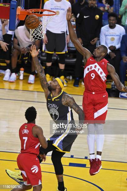 NBA Finals Golden State Warriors DeMarcus Cousins in action vs Toronto Raptors Serge Ibaka at Oracle Arena Game 6 Oakland CA CREDIT John W McDonough