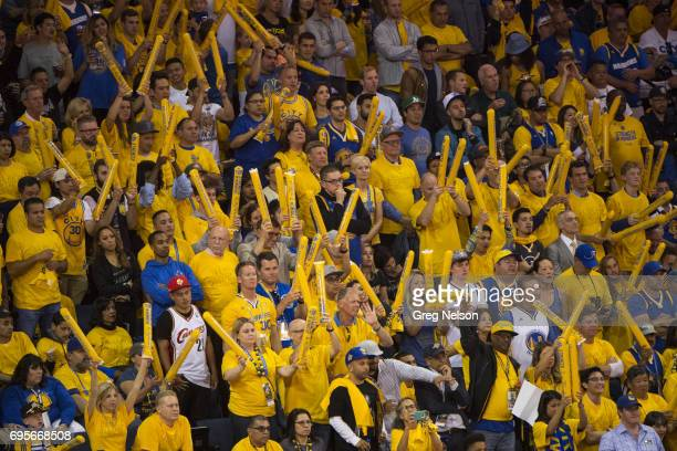 NBA Finals Golden State Warriors fans in stands during game vs Cleveland Cavaliers at Oracle Arena Game 5 Oakland CA CREDIT Greg Nelson