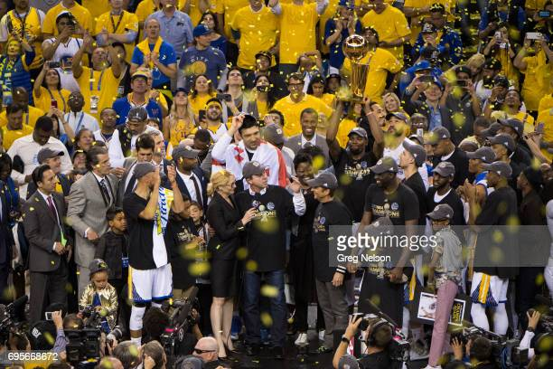 NBA Finals Golden State Warriors owners Joseph S Lacob and Peter Guber interviewed by NBA TV analyst Doris Burke after winning series vs Cleveland...