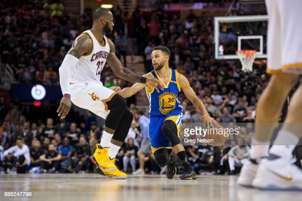 NBA Finals Golden State Warriors Stephen Curry in action vs Cleveland Cavaliers LeBron James at Quicken Loans Arena Game 4 Cleveland OH CREDIT Greg...