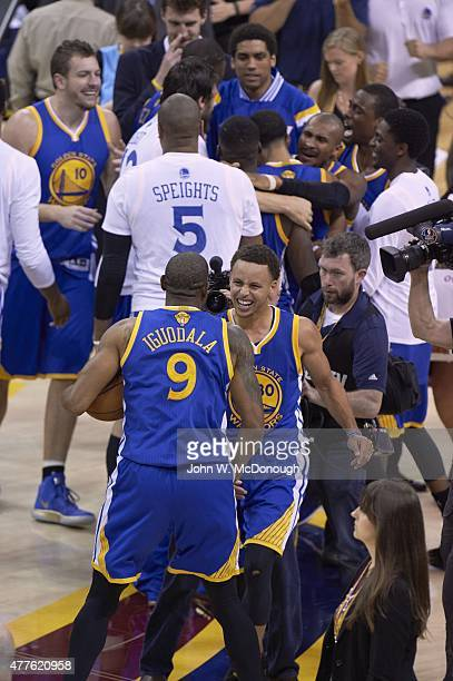 NBA Finals Golden State Warriors Stephen Curry victorious with Andre Iguodala after winning Game 6 and championship series vs Cleveland Cavaliers at...