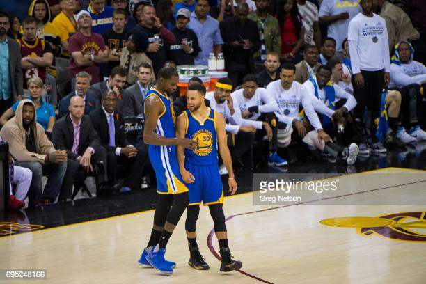 NBA Finals Golden State Warriors Stephen Curry with Kevin Durant during game vs Cleveland Cavaliers at Quicken Loans Arena Game 4 Cleveland OH CREDIT...