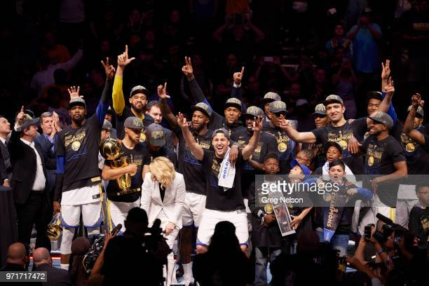 NBA Finals Golden State Warriors team victorious after winning game and series vs Cleveland Cavaliers at Quicken Loans Arena Game 4 Cleveland OH...