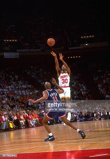 NBA Finals Houston Rockets Kenny Smith in action shot vs New York Knicks Derek Harper at The Summit Game 7 Houston TX CREDIT John W McDonough
