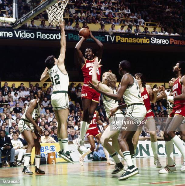 NBA Finals Houston Rockets Moses Malone in action vs Boston Celtics Kevin McHale at Boston Garden Game 2 Boston MA CREDIT Andy Hayt
