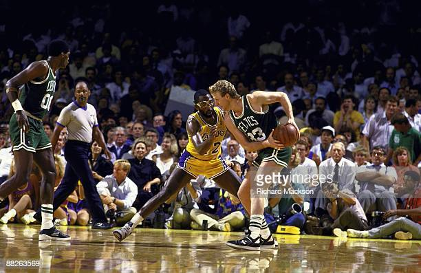 NBA Finals Los Angeles Lakers James Worthy in action defense vs Boston Celtics Larry Bird Inglewood CA 6/2/19876/14/1987 CREDIT Richard Mackson
