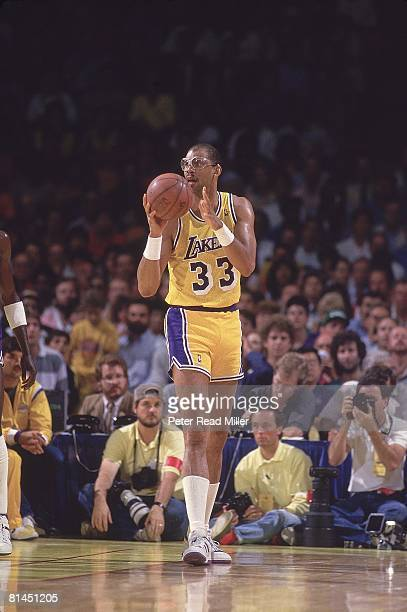 Basketball NBA Finals Los Angeles Lakers Kareem AbdulJabbar in action vs Boston Celtics Inglewood CA 6/2/19876/14/1987