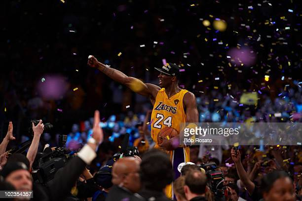 NBA Finals Los Angeles Lakers Kobe Bryant celebrates after winning championship vs Boston Celtics Game 7 Los Angeles CA 6/17/2010 CREDIT Bob Rosato...