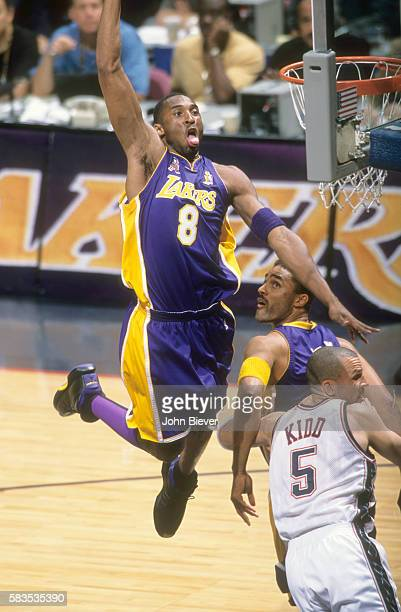 NBA Finals Los Angeles Lakers Kobe Bryant in action vs New Jersey Nets Jason Kidd at Izod Center Game 4 East Rutherford NJ CREDIT John Biever