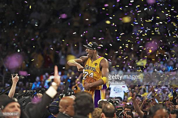 NBA Finals Los Angeles Lakers Kobe Bryant victorious after winning Game 7 and championship vs Boston Celtics Los Angeles CA 6/17/2010 CREDIT Bob...