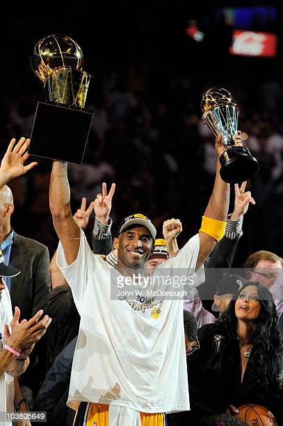 NBA Finals Los Angeles Lakers Kobe Bryant victorious with trophy after winning Game 7 and championship series vs Boston Celtics Los Angeles CA...