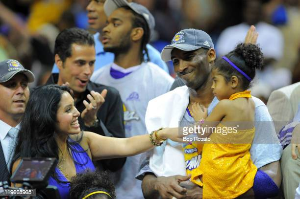 NBA Finals Los Angeles Lakers Kobe Bryant victorious with wife Vanessa and daughter Gianna MariaOnore Bryant after winning Game 5 and championship...