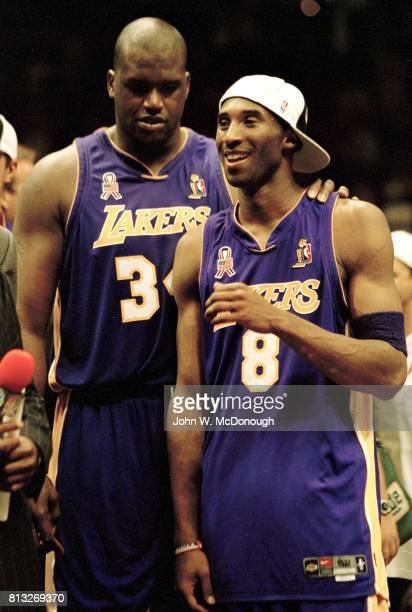 NBA Finals Los Angeles Lakers Kobe Bryant victorious with Los Angeles Lakers Shaquille O'Neal after winning game and sereis vs New Jersey Nets at...