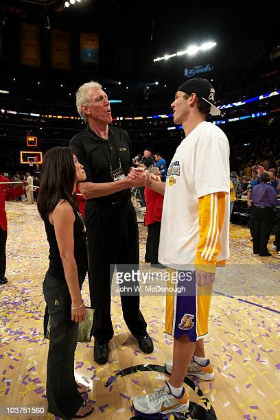 NBA Finals Los Angeles Lakers Luke Walton victorious with his father Bill Walton and wife Lori after winning Game 7 and championship series vs Boston...