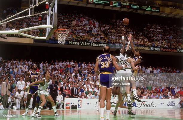 NBA Finals Los Angeles Lakers Magic Johnson in action making junior sky hook shot during final seconds of game vs Boston Celtics Kevin McHale and...