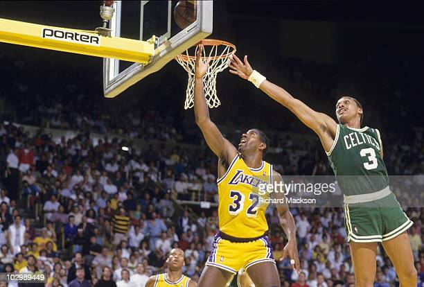 NBA Finals Los Angeles Lakers Magic Johnson in action vs Boston Celtics Dennis Johnson Game 6 Inglewood CA 6/14/1987 CREDIT Richard Mackson