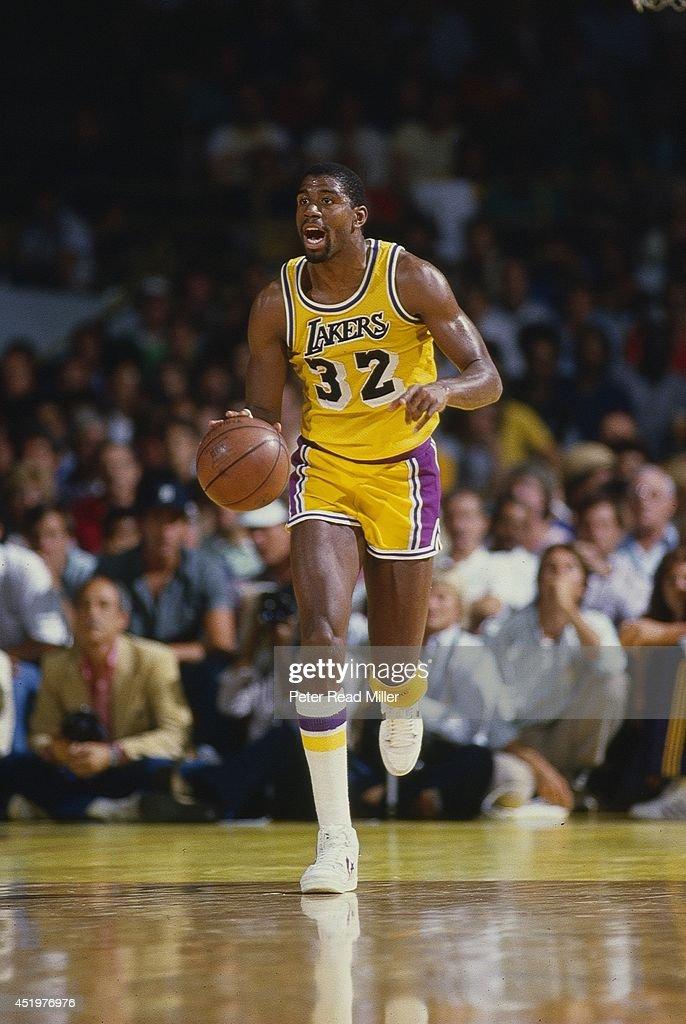 Los Angeles Lakers Magic Johnson in action vs Boston ...
