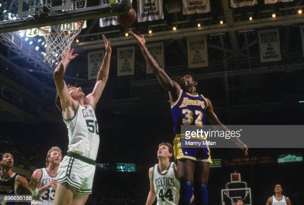 NBA Finals Los Angeles Lakers Magic Johnson in action layup vs Boston Celtics Greg Kite at Boston Garden Game 4 Boston MA CREDIT Manny Millan