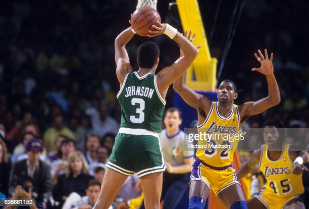 NBA Finals Los Angeles Lakers Magic Johnson in action defense vs Boston Celtics Dennis Johnson at The Forum Game 6 Inglewood CA CREDIT Richard Mackson