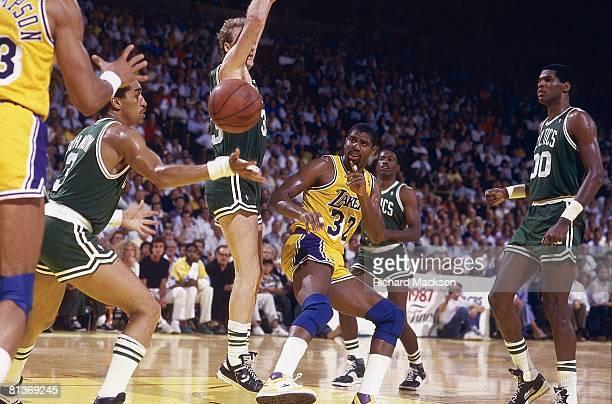 Basketball NBA finals Los Angeles Lakers Magic Johnson in action vs Boston Celtics Los Angeles CA 6/4/1987
