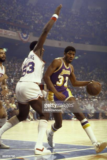 NBA Finals Los Angeles Lakers Magic Johnson in action vs Philadelphia 76ers vs Darryl Dawkins Game 4 Philadelphia PA 5/11/1980 CREDIT Rich Clarkson