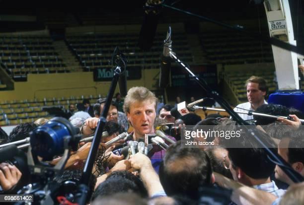 NBA Finals Los Angeles Lakers Magic Johnson on court talking with reporters before game 5 vs Boston Celtics at Boston Garden Boston MA CREDIT John...