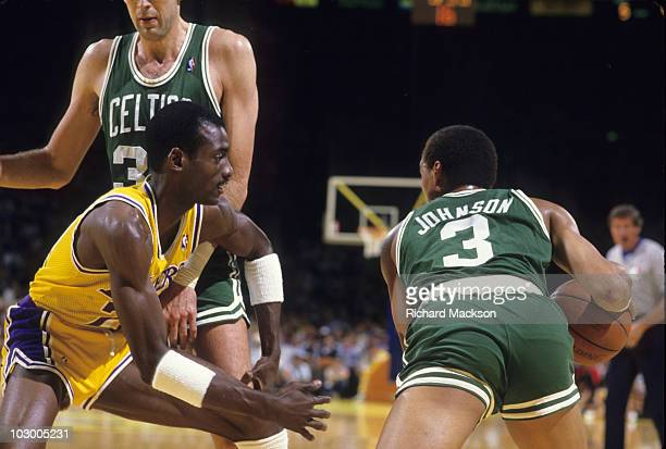 NBA Finals Los Angeles Lakers Michael Cooper in action defense vs Boston Celtics Dennis Johnson Game 2 Inglewood CA 6/4/1987 CREDIT Richard Mackson