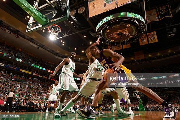 NBA Finals Los Angeles Lakers Ron Artest in action vs Boston Celtics Paul Pierce 34 and Kendrick Perkins Game 5 Boston MA 6/13/2010 CREDIT John W...