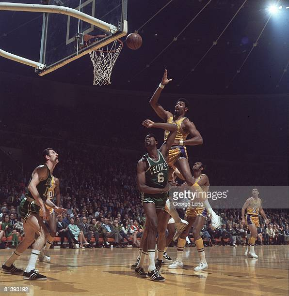 Basketball NBA Finals Los Angeles Lakers Wilt Chamberlain in action taking layup vs Boston Celtics Bill Russell Inglewood CA 4/23/19694/25/1969