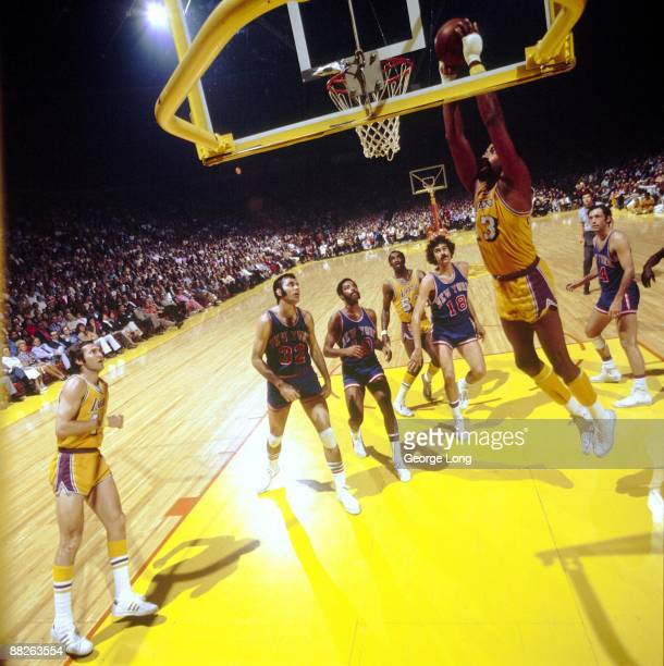 NBA Finals Los Angeles Lakers Wilt Chamberlain in action dunk vs New York Knicks Inglewood CA 4/26/19724/30/1972 CREDIT George Long