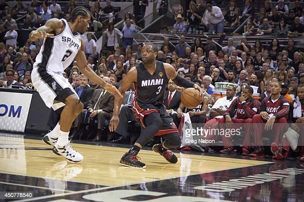 NBA Finals Miami Heat Dwyane Wade in action vs San Antonio Spurs Kawhi Leonard at ATT Center Game 5 San Antonio TX CREDIT Greg Nelson