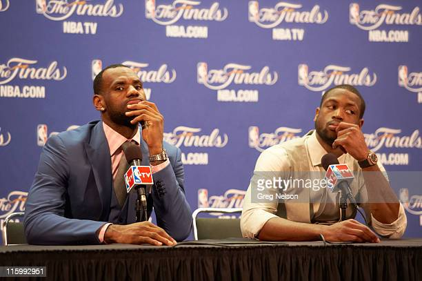 NBA Finals Miami Heat LeBron James and Dwyane Wade during press conference after game vs Dallas Mavericks at American Airlines Arena Game 6 Miami FL...