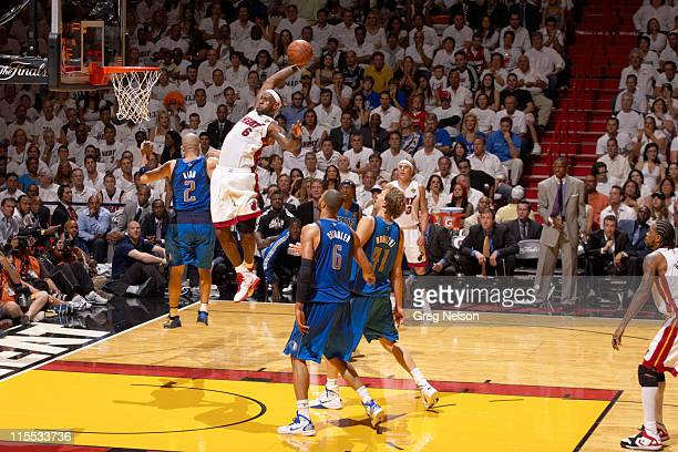 NBA Finals Miami Heat LeBron James in action dunking vs Dallas Mavericks at American Airlines Arena Game 2 Miami FL CREDIT Greg Nelson