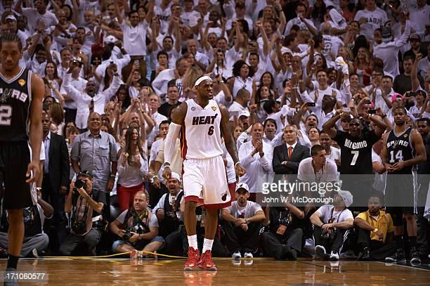 NBA Finals Miami Heat LeBron James victorious during game vs San Antonio Spurs at American Airlines Arena Game 7 Miami FL CREDIT John W McDonough